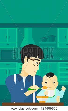 Man feeding baby.