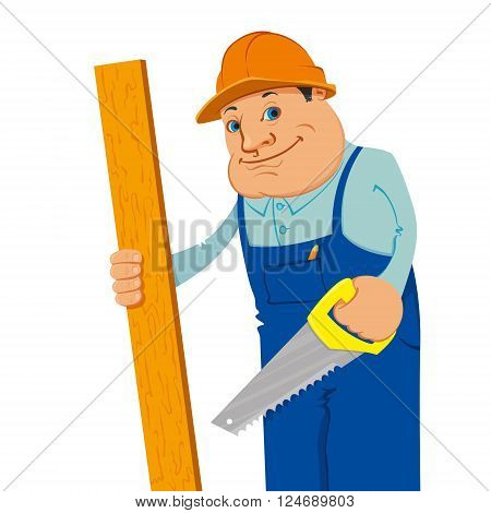 smiling construction worker with board and hand saw