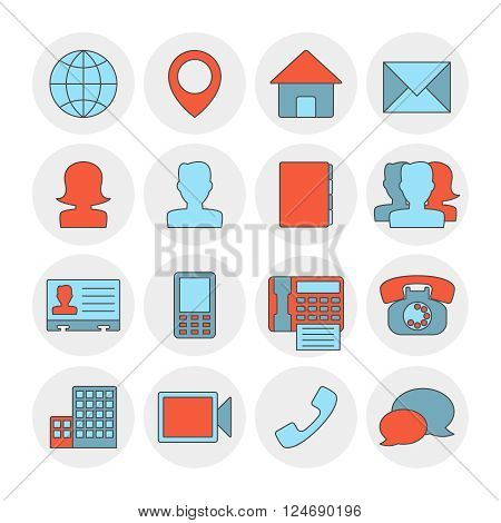 Contact outline icons flat. Contact concept, vector illustration