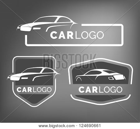 poster of Set of modern car emblems badges and icons. Modern sports car silhouette logo design template for car service tire service and car wash.