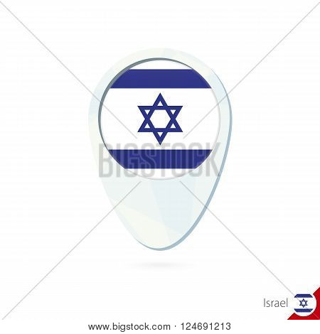 Israel Flag Location Map Pin Icon On White Background.