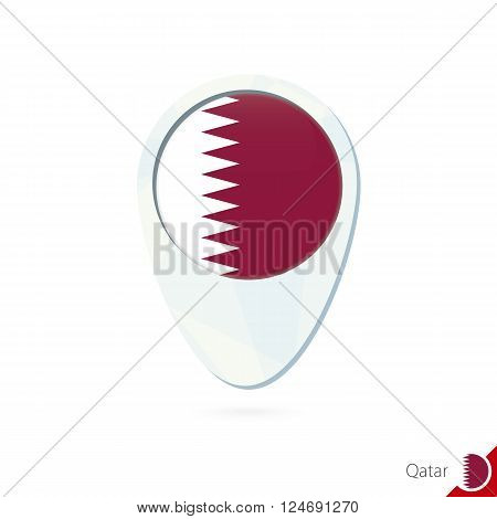 Qatar Flag Location Map Pin Icon On White Background.