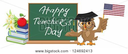 Happy Teachers Day. Owl teacher stands at blackboard. Cartoon illustration in vector format