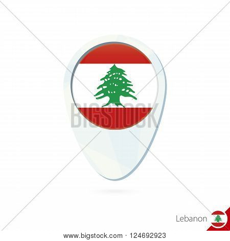 Lebanon Flag Location Map Pin Icon On White Background.