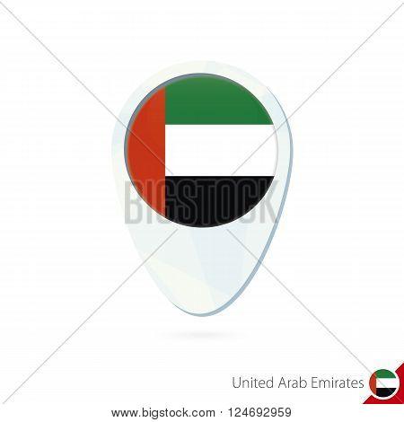 United Arab Emirates Flag Location Map Pin Icon On White Background.