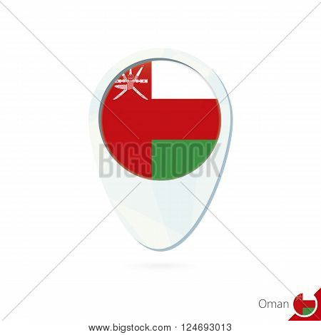 Oman Flag Location Map Pin Icon On White Background.