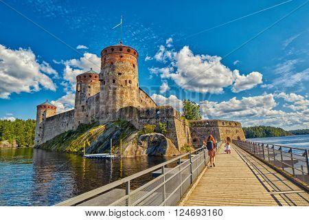 Bridge to the Olavinlinna Olofsborg, the 15th-century medieval three-tower castle located in Savonlinna, Finland.