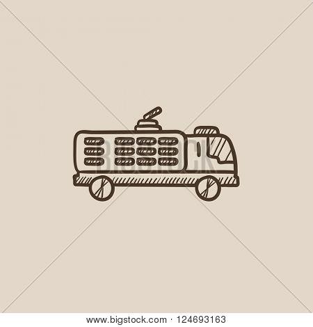 Fire truck sketch icon.