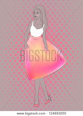Woman in a neon pink orange skirt and white top. Vector modern style sketch. Attractive female. Good illustration for fashion, beauty design, disco poster, dance project.