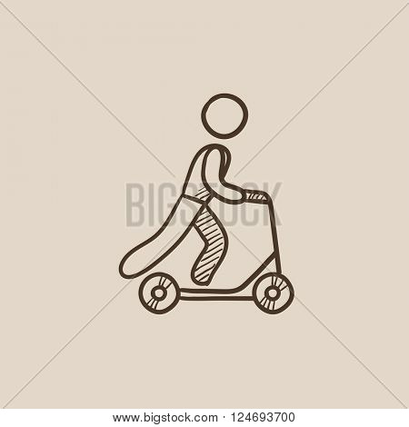 Man riding kick scooter sketch icon.