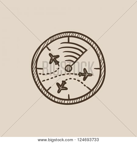 Radar screen with planes sketch icon.