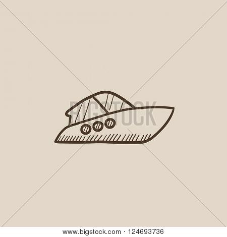 Speedboat sketch icon.