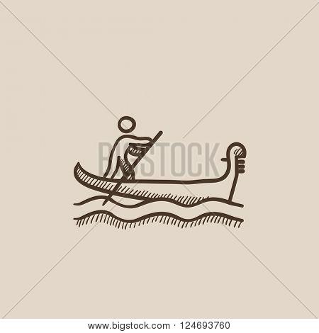 Sailor rowing boat sketch icon.