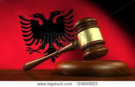 Albania law legal system and justice concept with a 3d Rendering of a gavel and the Albanian flag on background.