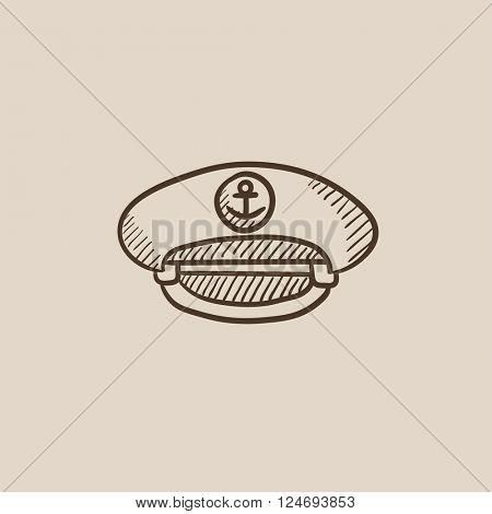 Captain peaked cap sketch icon.