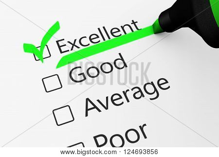 Product quality control business survey and customer service checklist with excellent word checked with a green check mark 3D illustration.
