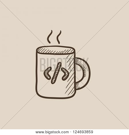Cup of coffee with code sign sketch icon.