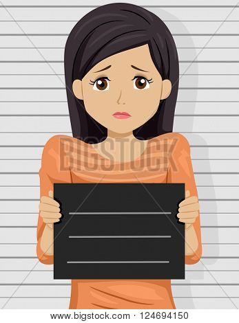 Illustration of a Scared Teenage Girl Posing for a Mug Shot