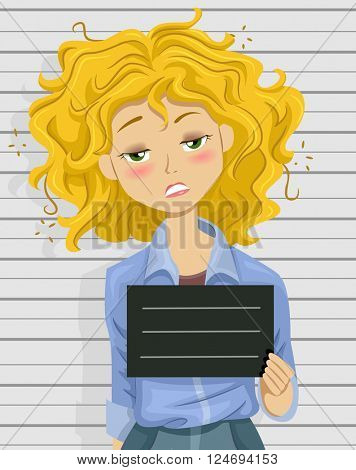 Illustration of a Drunk Teenage Girl Posing for a Mug Shot