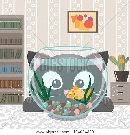 Black cat is looking at the fish in an aquarium. Cartoon kitten and small goldfish in a fishbowl