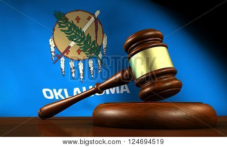 Oklahoma law legal system and justice concept with a 3d Rendering of a gavel and the Oklahoman flag on background.
