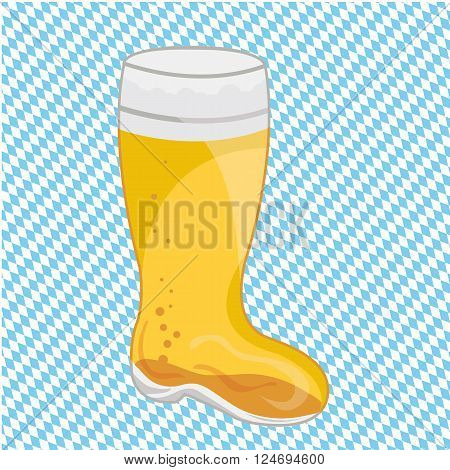 a Bavarian beer mug on blue and white checkered background