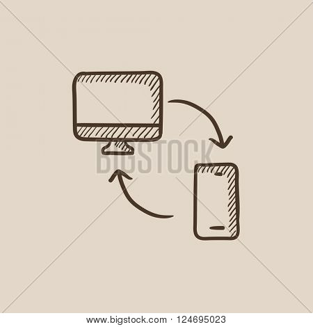 Synchronization computer with mobile device sketch icon.