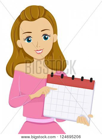Illustration of a Teenage Girl Pointing to a Date on a Calendar