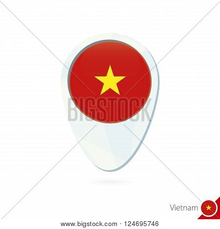 Vietnam Flag Location Map Pin Icon On White Background.