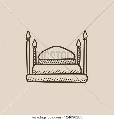 Taj Mahal sketch icon.