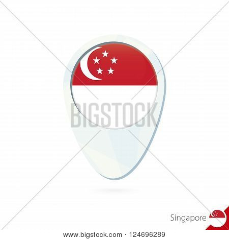 Singapore Flag Location Map Pin Icon On White Background.