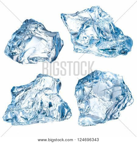 Ice blocks isolated on a white background. Collection