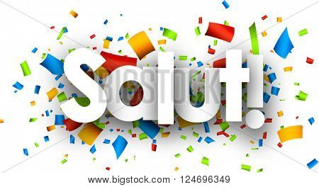 Hello paper background with color confetti, Catalan. Vector illustration.