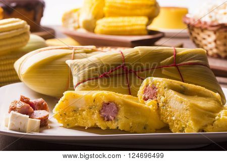 Salty Pamonha With Sausage And Cheese - Typical Food Of Green Corn - Tasty And Cheap - Typical And P