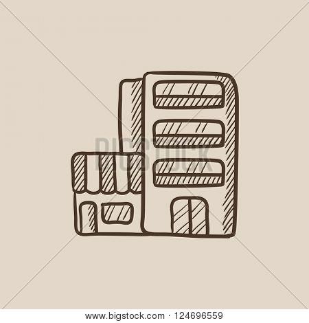 Hotel building sketch icon.