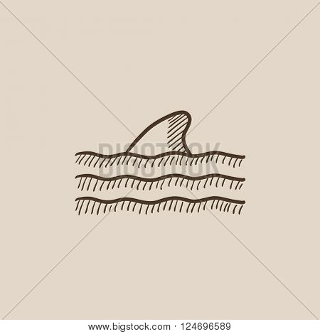 Dorsal shark fin above water sketch icon.