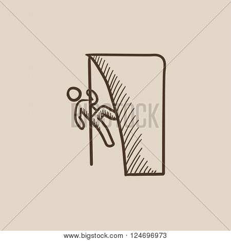 Rock climber sketch icon.