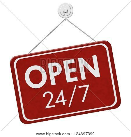 Open 24 / 7 Sign A red hanging sign with text Open 24 / 7 isolated over white