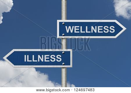 Being Well versus having an Illness Two Blue Road Sign with text Illness and Wellness with sky background