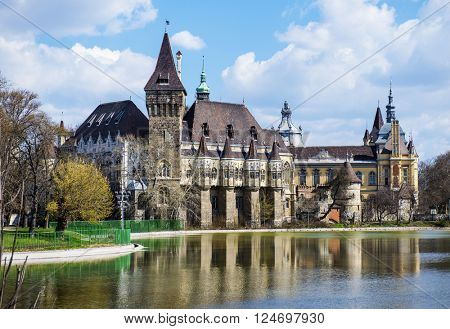 BUDAPEST, HUNGARY - MARCH 23, 2016: Vajdahunyad castle in Budapest. It was built between 1896 and 1908. Today it houses the Agricultural Museum of Hungary, the biggest agricultural museum in Europe.