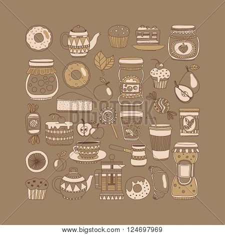 Doodle style images with coffee, tea fruits and sweets