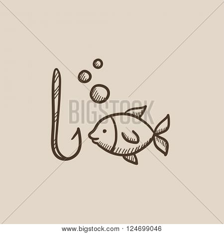 Fish with hook sketch icon.
