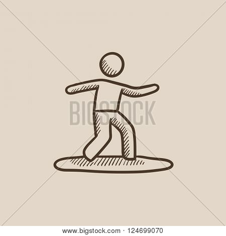 Male surfer riding on surfboard sketch icon.