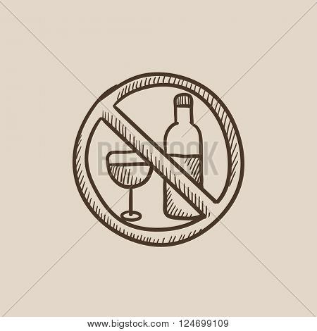 No alcohol sign sketch icon.
