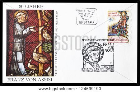 AUSTRIA - CIRCA 1982 : Cancelled First Day Cover letter printed by Austria, that shows Franz von Asisi.