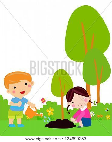 Little kids planting small plant in garden