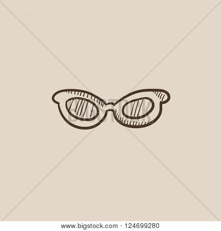 Eyeglasses sketch icon.