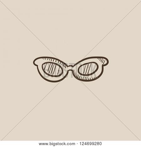 Eyeglasses sketch icon.
