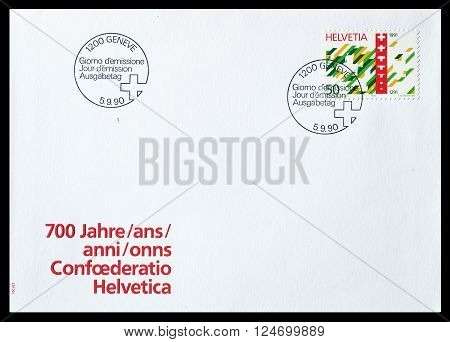 SWITZERLAND - CIRCA 1991 : Cancelled First Day Cover letter printed by Switzerland, that shows Bern and Berner Alps.