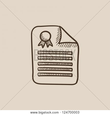 Real estate contract sketch icon.
